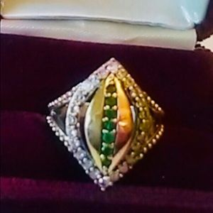 Turkish Emerald and Clear Topaz Sterling Ring Sz 8